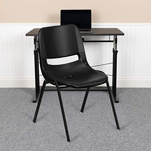 EMMA + OLIVER Kid's Black Ergonomic Shell Stack Chair - Black Frame and 14'H Seat