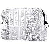 Bolsa de cosméticos Bolsa de Maquillaje Impermeable para Mujer para Viajar para Llevar cosméticos, Cambiar Llaves, etc. Arte Ancient Queen Cleopatra