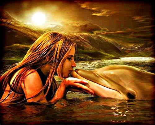 Dybjq 5d Diamant Stickerei Meerjungfrau 5d DIY Malerei Tiere Delphin Gemälde Mosaik Zeichnungen Perlen Bilder Mosaik Bilder 40x50cm