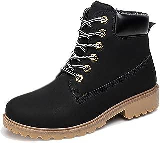 Uttse Women/Men's Outdoor Waterproof Lace-Up Ankle Work Boots