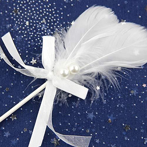 Plume Blanche Double Couche Bow Pearl Insert Belle Carte de décoration de gâteau de Cuisson de Cuisson, dans la Carte, 10 Groupes