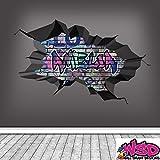 Personalisiert 3D Multi Farbe Graffiti Personalisierter Name Ausgebrochenes Ziegelstein Optik Wand Kunst Aufkleber mit Grauer Bordüre für Teenager Mädchen und Jungen WSDPGN121