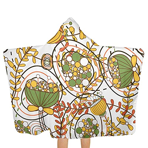 Bingyingne Art Foliage - Toallas con Capucha para niños, Tipo Poncho, Ultra Suaves, extragrandes, de Secado rápido, para la Playa, para Nadar, con Capucha para niños y niñas