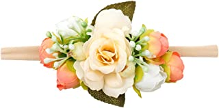 DreamLily Baby Girls Nylon Flower Crown Rose Floral Headband Infant Hair Bows BB22