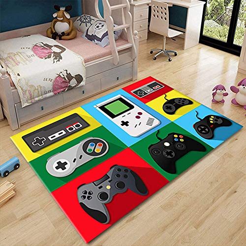 XOOFMASS Gaming Life Area Rugs, Gamer Room Decor Play Rug, Children Play Throw Rugs Carpet,with Game Controller Design Non-Slip Velvet Floor Mat Doormats Nursery Rugs,1,78.7 x 39.3 in