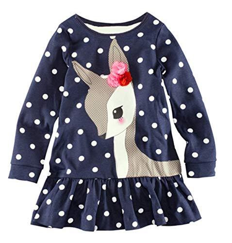 AK.SSI T-Shirt Enfant en Coton à Manches Longues pour Filles, Joli imprimé de Cerfs 1 pcs Size 4T