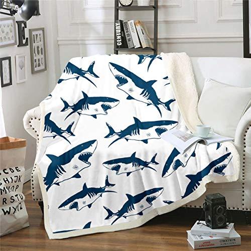 Manta de felpa de tiburón con diseño de animales marinos, manta de sherpa para niños, 3D, diseño de tiburón, manta de forro polar, para sofá, cama, sofá, bebé, 70 x 100 cm