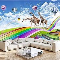Djskhf 子供のための現代漫画の子供の壁紙リビングルームの壁画3Dレインボーキリン写真の壁紙家の装飾の寝室 360X250Cm