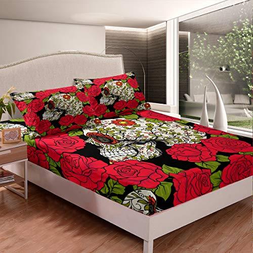 Rose Skull Bedding Set Sugar Skull Pattern Bed Sheet Set for Kids Children Teens Red Rose Floral Flowers Fitted Sheet Skeleton Design Bed Cover Bedroom Decor 3Pcs Full Size