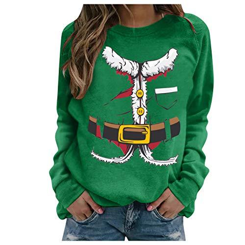 ReooLy - Sudadera de Manga Larga con Estampado navideño para Mujer, Blusa Informal, Jersey(I-Verde,M)