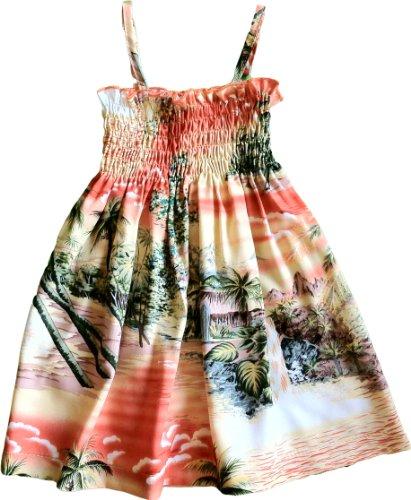 Smocked Sundress - Girl's Paradise Island Surf Hawaiian Aloha Elastic Tube Top Sun Dress in Coral Orange - 12 Months