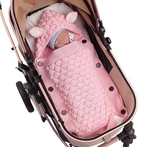 Baby Schlafsack Kinderwagen Schlafsack Kleinkind Strickdecke Neugeborenes Gestrickt Wickeln für 0-12 Monate (rosa, 50 x 35 cm)