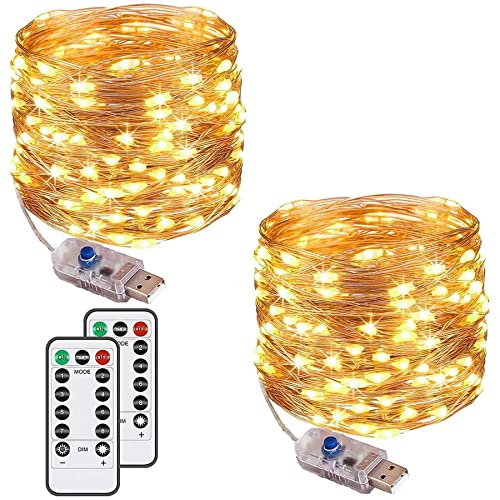 [2 Pack] Fairy String Lights, 120LED 12M/40Ft 8 Modes USB Plug in Powered Lights Waterproof Outdoor/Indoor Copper String Lights with Remote Timer for Bedroom, Party, Wedding, Christmas (Warm White)