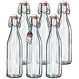 KADAX Universale Flasche mit Bügelverschluss, dichte Bügelflasche, vintage Glasflasche, Trinkflasche, Likörflasche, Saftflasche, Bügelverschlussflasche (1000ml, 6 Stück)