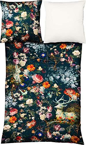 fleuresse Wendebettwäsche Satin blau-rot-orange-rosé Größe 135x200 cm (80x80 cm)