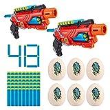 XShot Dino Attack Dino Striker Double Blaster Value Pack (6 Medium-Sized Egg Shooting Targets, 48 Foam Darts)