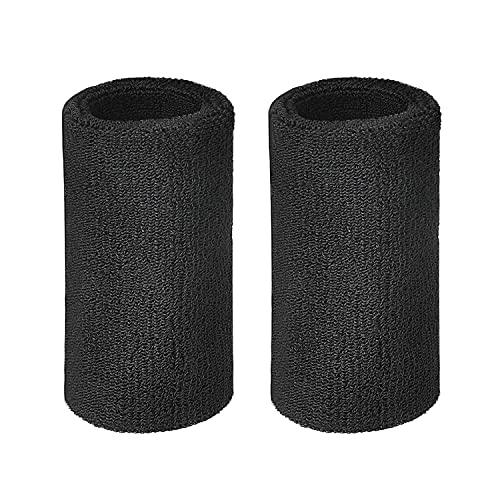 Lvcky Schweißband für das Handgelenk, Sport-Armbänder, elastisch, Baumwolle, 15,2 cm (6 Zoll), 2 Stück
