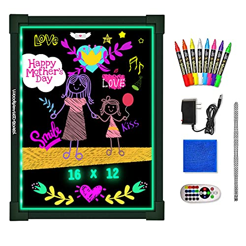 """Woodsam Dry Erase Led Board - 16"""" x 12"""" Erasable Neon Message Drawing Learning Sign Board with 2 Vivid Liquid Chalk Markers for Kids"""