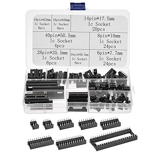 sourcing map Dip IC Chip Enchufe Adaptador 2,54mm Paso Doble Fila Plana Pines Soldadura Chip Conector Conjunto 6,8,14,16,18,24,28,40 Pines Negro