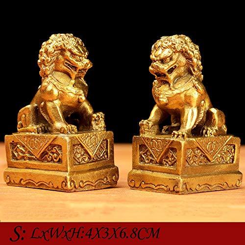 WXQY Fu Dogs, Leones Guardianes, Estatuas Fu Foo Guardian Lion Statues Colocación Interiores Feng Shui Decoración Estatuilla Decoración Escritorio