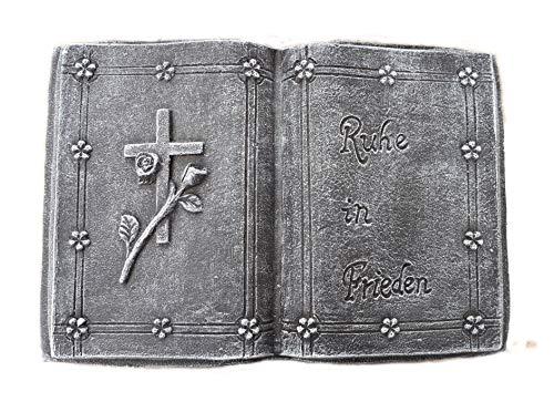 Steinfiguren Spicker Steinfigur Grabschmuck Steinguss Buch 189/1, Inschrift: Ruhe in Frieden Basaltgrau