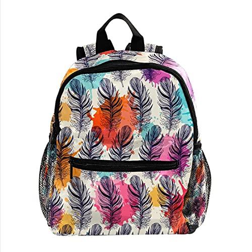 Kids BackpackTravel Backpack for 3-8 Years Kids Bunte Federn 25.4x10x30cm
