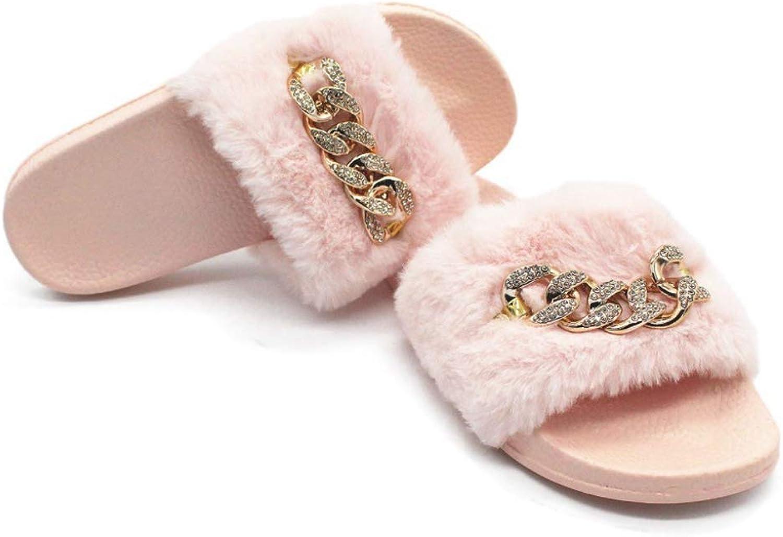 Hoxekle Woman's Open Toe Bling Chain Decorate Slip On Platform Flip Flops Sandals Furry Beach Sandals