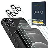 QHOHQ 3 Pack Screen Protector for iPhone 12 Pro [6.1 Inch] with 2 Packs Tempered Glass Camera Lens Protector,Tempered Glass Film, [9H Hardness] - HD - [2.5D Edge] - [Bubble Free] - [Scratch Resistant]