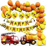Amteker Bagger Kindergeburtstag Deko, BAU Geburtstag Party Dekoration für Kinder, Happy Birthday Banner, Baufahrzeug Feuer Auto Folienballons, Bagger Luftballons, Geburtstagdeko für 2-6 Jahre Jungen