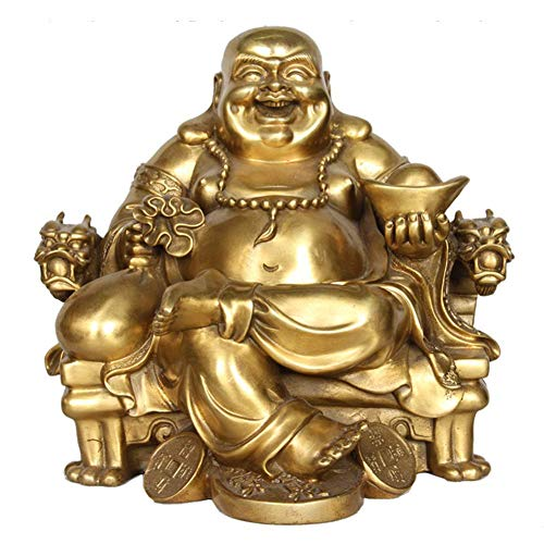 Ornamento da estátua do Buda rindo Buda Maitreya Deus da Riqueza Sentado em UMA cadeira de dragão Escultura de Figura Feng Shui Decoração de escritório doméstico, latão