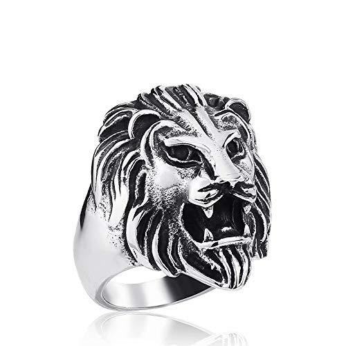 TAOYATAO Anillo de acero inoxidable 316L con cabeza de león de estilo antiguo para motorista para hombre, joyería de moda punk cráneo círculo, el anillo de moda premium para hombre (n.º 7)