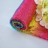Tela Tela de lentejuelas arcoiris Material de 1 yarda Tela Tela de corte y confección Tela de brillo por el patio Tela de costura Material multicolor para la decoración del banquete de boda