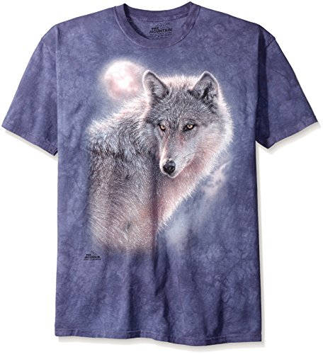 The Mountain Adventure Wolf Adult T-Shirt, Blue, Small