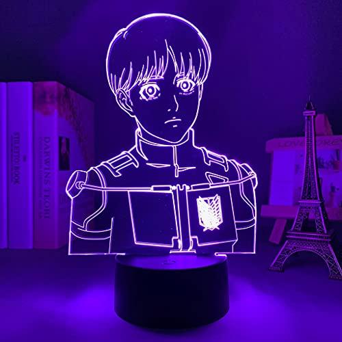 Luz Led Anime Ataque en Titan Armin Arlert para Dormitorio Decoración Noche Niños Regalo de Cumpleaños Manga Shingeki No Kyojin 3D Lámpara