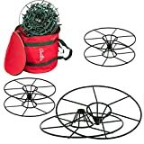 Christmas Light 12' Storage Reels Container (3pk) - Heavy Duty Metal Construction with X-Mas Carrying Bag Case for House Tree Lights