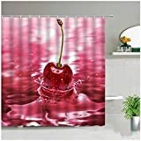 LTTA 3D Print Red Cherry Duschvorhänge Sommer Obst Zitrone Badezimmer Dekor Bad Vorhang Wasserdicht Polyester Tuch Displaye Mit Haken-180x180cm