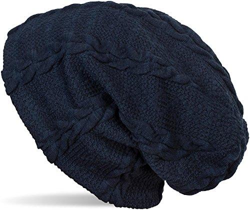 styleBREAKER warme Feinstrick Beanie Mütze mit Zopfmuster und Fleece Innenfutter, Slouch Longbeanie, Unisex 04024131, Farbe:Dunkelblau