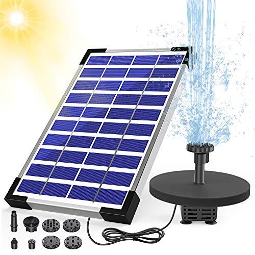 AISITIN Springbrunnen Solar 5.5W Teichpumpe Solar Solarbrunnen Eingebaute Batterie mit 6 Fontänenstile für Garten Vogel-Bad Teich