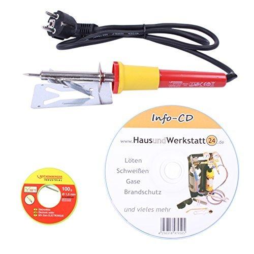 Elektro-Löt-Set: Lötkolben 25 W und Elektroniklot 100 g von Rothenberger sowie Löt-CD von HUW24