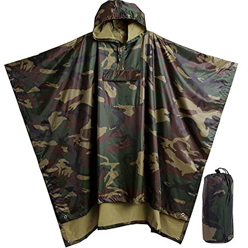 Poncho de lluvia resistente y reutilizable, para mochilero, poncho de lluvia impermeable ligero para adultos, poncho militar como poncho de lluvia de emergencia, poncho de camping...