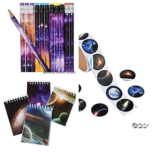 Just4fun (48) Galaxy Party Favors- 24 Mini Spiral NOTEBOOKS & 24 Pencils Plus 48 Outer Space Stickers - Party Favors - Science - Planets - Solar System Classroom Teacher Rewards