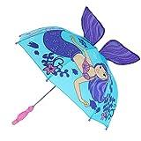 Rhode Island Novelty Kid's 3D Mermaid Umbrella with Seahorse Mold Handle, Blue