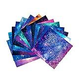 AMACOAM Papel Origami 15x15 cm Doble Cara Papel Papiroflexia Constelación Cielo Nocturno Papel para Origami Origami para Niños Adultos Set con 10 Patrón para Proyectos de Arte y Manualidades 100 Hojas