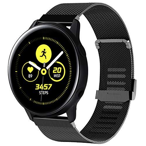 Tosenpo Cinturino per Samsung Galaxy Active 40 mm/Active2, Cinturino di Ricambio in Acciaio Inox per Orologio Active2/Active/Gear Sport/Gear S2 Classic (Nero)