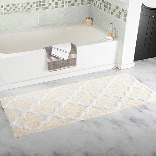 Hihome Cream Tan Bath Rugs Polyester Non-Slip Rubber Backing Bathroom Floor Mats Cream Tan(18'' x 47'')'