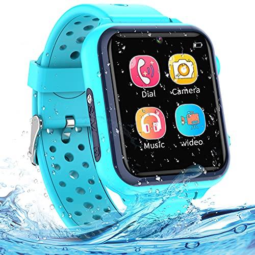 Smartwatch Kinder - Smartwatches Telefon mit Musik SOS Spiele Kamera Stoppuhr Wecker Rekorder Rechner Touchscreen Uhr Anruf Kinder Geschenke Geburtstag für Jungen und Mädchen (blau)