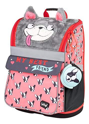 Baagl Schulranzen Mädchen 1. Klasse - Ergonomische Schultasche für Kinder - Schulrucksack mit Brustgurt - Grundschule Ranzen (Doggie)