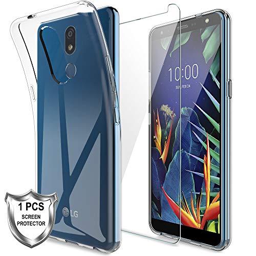 LK Hülle für LG K40,Schlanker Weiche Flex Silikon TPU Schutzhülle Case Cover mit Panzerglas Folie[1 Stück] für LG K40 - Transparent