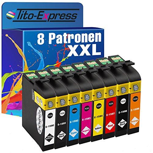 8Cartuchos de Tinta XXL para Epson Stylus Photo R2000te1590–te1599platinumserie