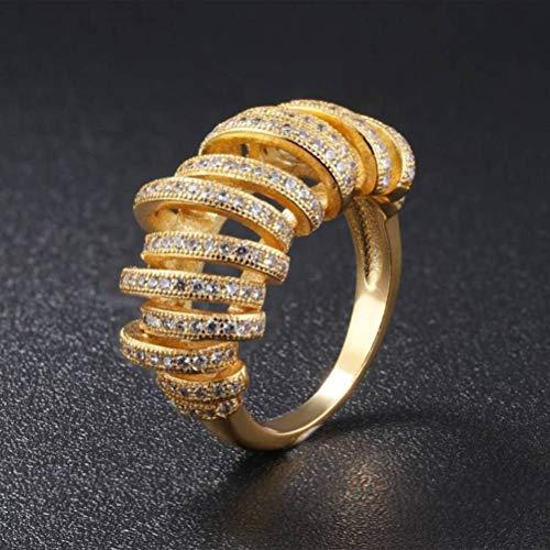 Thumby Bruids Accessoires Euro Coin vergulde 18K gouden Ring Dames Zand Goud Diamant Sieraden Bruiloft Bruidssieraden, Party Geometry, Opaal, Mannen, verguld met 18K goud, US 7